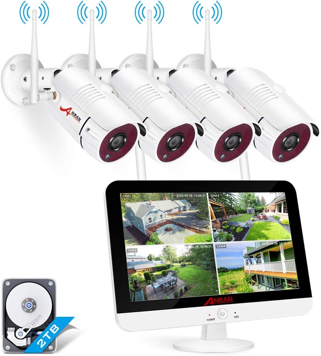 【el m/ás Nuevo】 ANRAN 1080P Kit de C/ámaras Seguridad WiFi Vigilancia Inal/ámbrica Sistema de C/ámara CCTV Inal/ámbrica Kit NVR 8CH con 8 IP C/ámaras Exterior de Visi/ón Nocturna 2TB HDD P2P Acceso Remoto