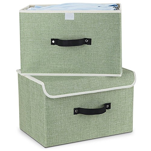 Light Green Cotton Fabric - Storage Bins,Mee'life Set of Two Foldable Storage Box with Lids and Handles Storage Basket Storage Needs Containers Organizer With Built-in Cotton Fabric Closet Drawer Removable Dividers (Light Green)