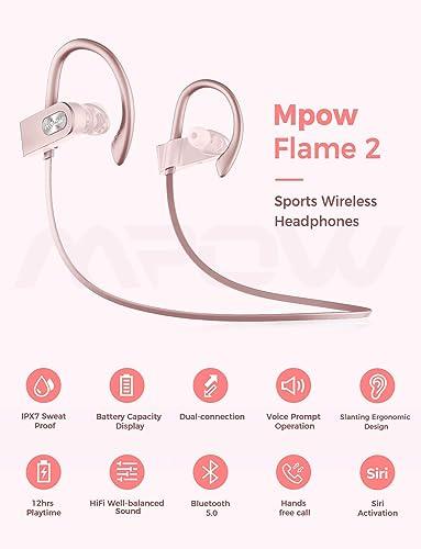 Mpow FLAME2 Bluetooth Headphones Sport, 12Hrs Bluetooth 5.0 Wireless Sport Earphones, IPX7 Waterproof Running Headphones W CVC 6.0 Noise Cancelling Mic, Bluetooth Earphones w Comfort-Slanting, Pink