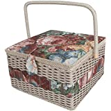 SAXTX 100% Handmade Extra Large Sewing Basket with 107 Pcs Professional Accessories|Vintage Wooden Sewing Box Organizer |Sewing Kit Baskets with Compartments, 13.4 x 13.4 x 8 inches