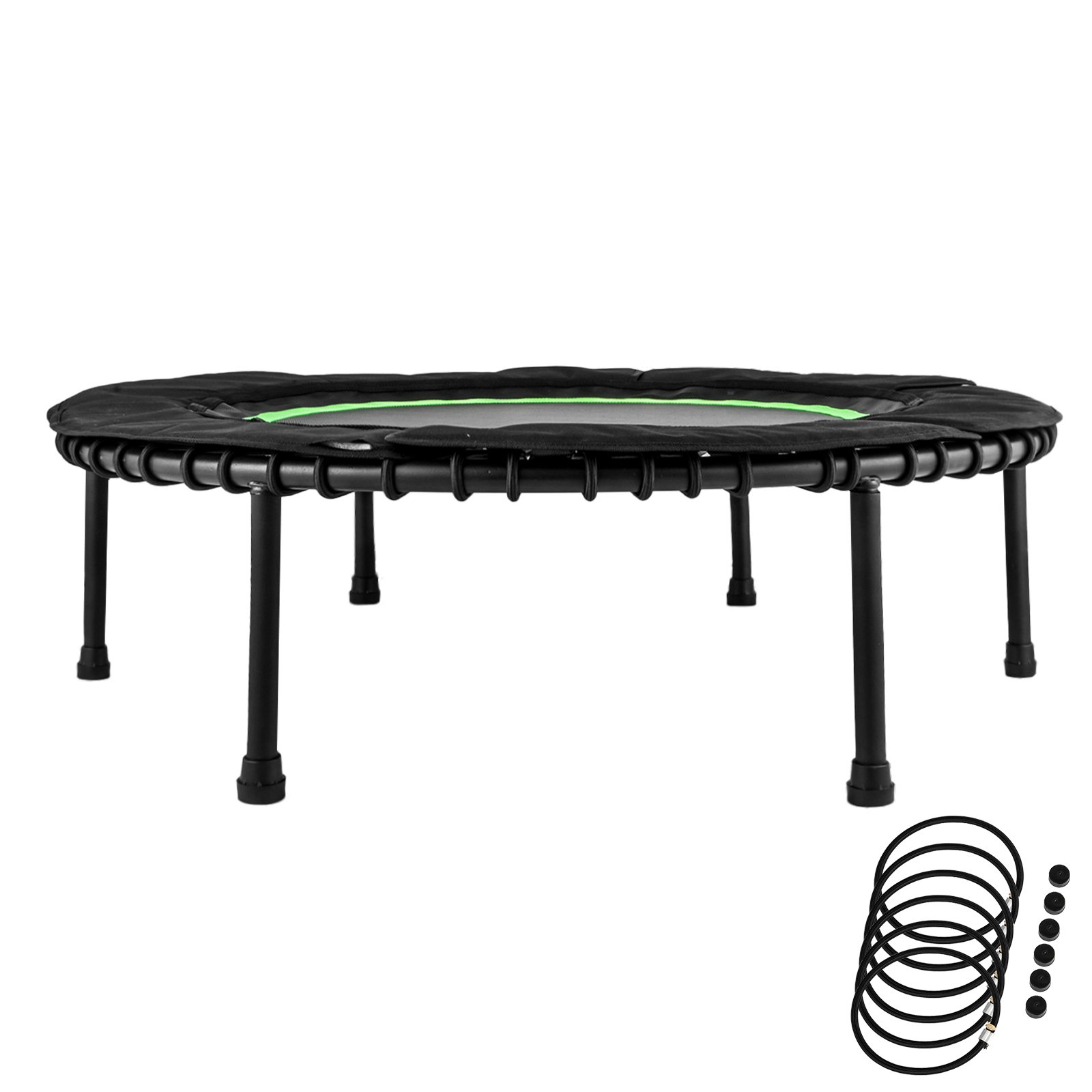 ShareProfit 40'' Fitness Trampoline 330lbs Holding Capacity Portable Exercise Trampoline with Latex Rubber Bungees Elastic Jump Mat Bungee Rebounder Mini Trampoline