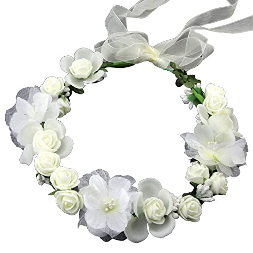 SIZSNM Flower Crown Floral Headband Headpiece Wreath Girls Womens  Artificial White Silk Roses Wedding Bridal Kids 44bcef9d635
