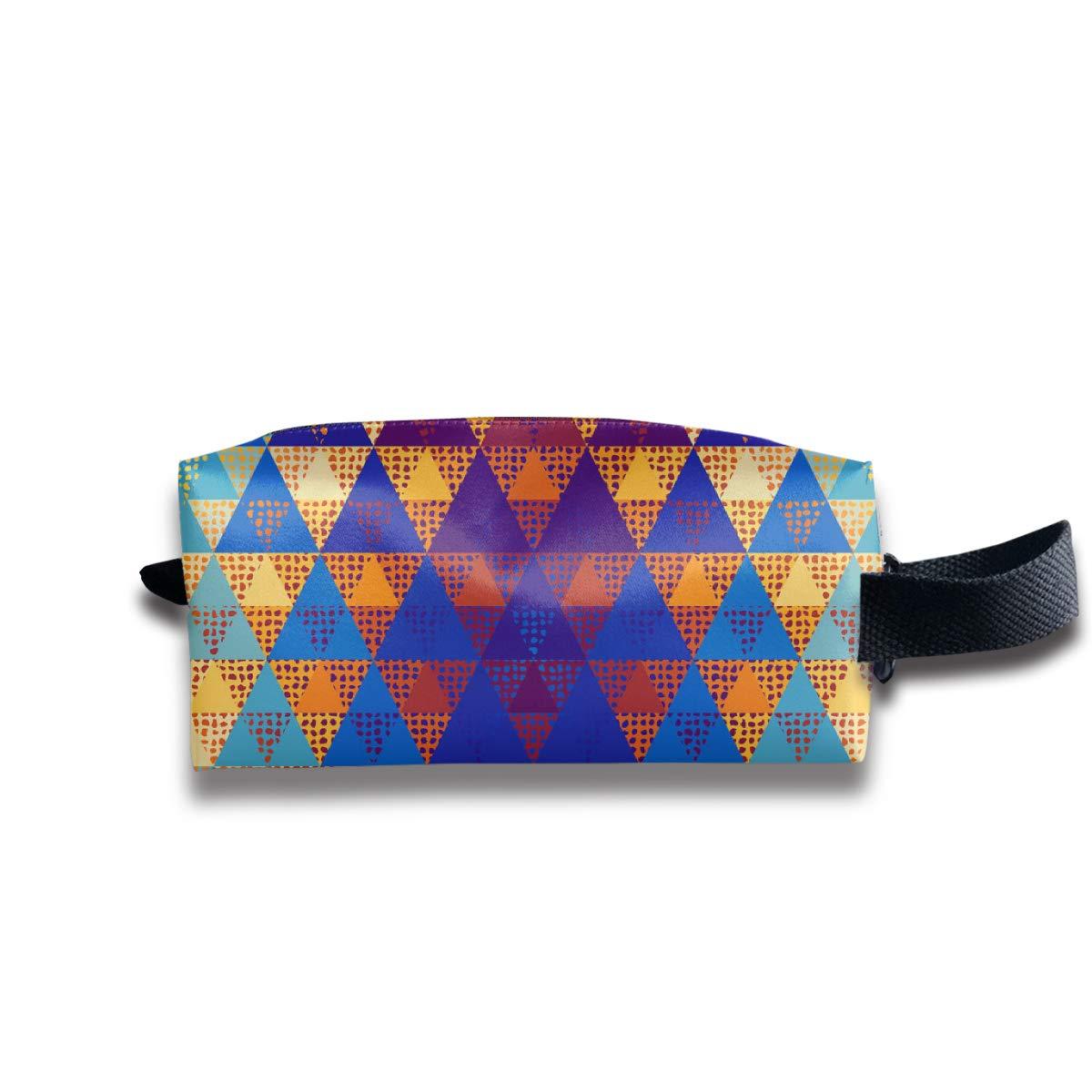 A Triangles_464 Canvas Makeup Bag Pouch Purse Handbag Organizer with Zipper