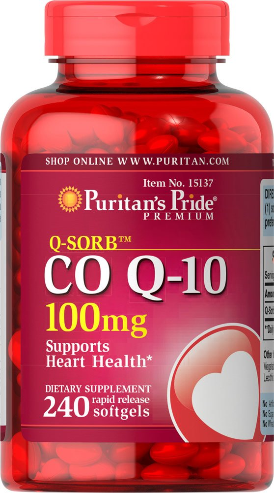 Puritans Pride Qsorb Co Q10 100 mg Rapid Release Softgels, 240 Count