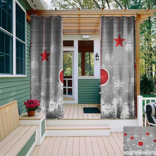 Hinged Slide Pendant - leinuoyi Christmas, Outdoor Curtain Extra Long, Traditional Celebration Theme with Pendant Stars Baubles Ornate Snowflakes, Fabric by The Yard W120 x L108 Inch Grey Red White