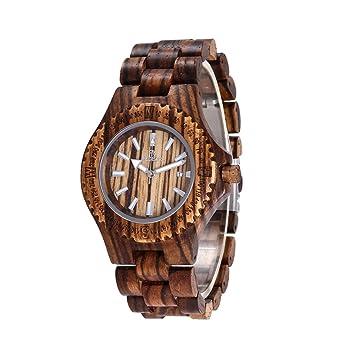 Mens Wooden Watch, Natural Wood Handmade Wirstwatches Round Vintage Zebra Lightweight Clocks Old Fashion Gear