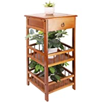 Side End Table with Storage, 3 Tier Bamboo Side End Sofa Table Plant Table with Drawer Telephone Table for Hallway…