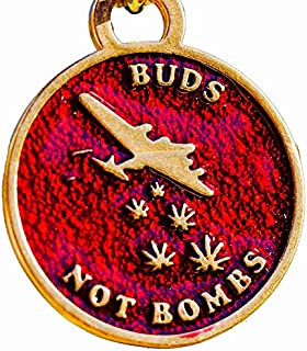 product image for From War to Peace Buds Not Bombs High Flyer Panama Red Enamel Necklace on Polished Brass Ball Chain