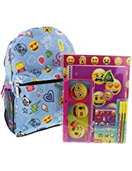 Emoji 16 inch Backpack and 11 piece Stationary Set
