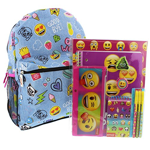 Emoji 16 inch Backpack and 11 piece Stationary Set (Emoji Denim Blue)