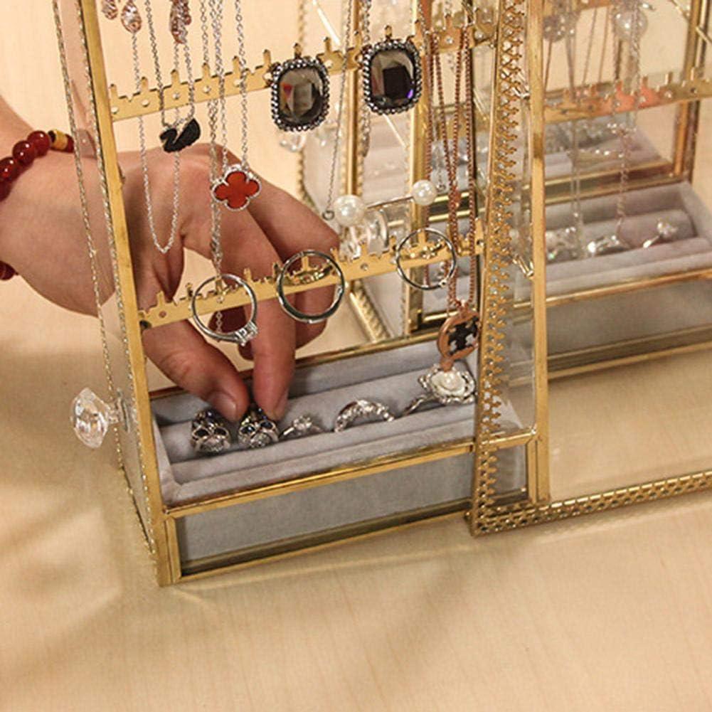 strety Organisateur de bo/îte de Rangement de Bijoux Support de Suspension pour Organisateur de Boucles doreilles bo/îte /à Bijoux Classique /à Grandes Fentes avec tiroir Well Made