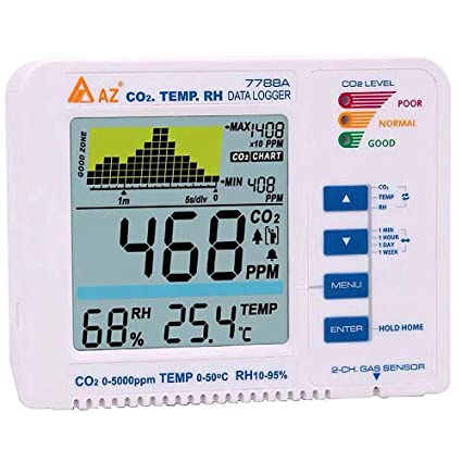 AZ7788A carbon dioxide detector plant mode CO2 gas test alarm trend record - - Amazon.com