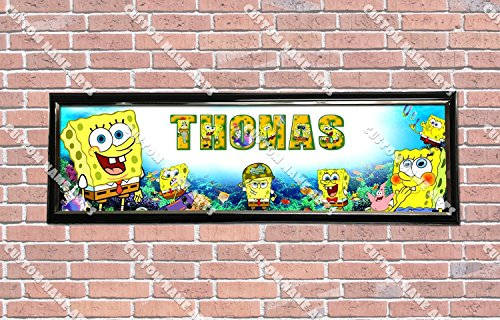 Personalized Customized SpongeBob SquarePants Poster With Frame, With Your Name On It, Party Door Poster, Room Art Decoration, Wall Decor (Room Decor Spongebob)