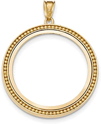Real 14kt Yellow Gold Polished Prong 1oz American Eagle Bezel