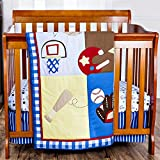 Dream On Me All-Star Athlete 3-Piece Reversible Portable Crib Set, Pastel