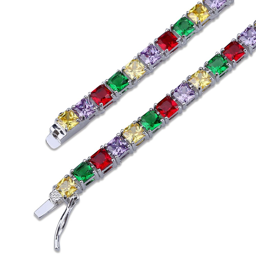 JINAO 1 Row 4MM Gold Silver Plated Diamond Iced Out Chain Macro Pave Rainbow Square CZ Hip Hop Tennis Necklace and Bracelet