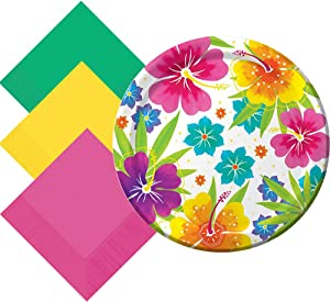 Another Dream Tropical Luau Hawaiian Summer Theme Party Pack- Tableware for 50 Guests- Plates and Napkins