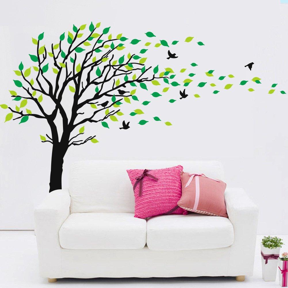 Amazon.com: MLM Large Tree Flying Birds Green Leaves Wall Sticker ...