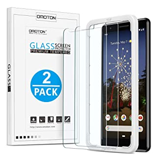 OMOTON [2 Pack] Screen Protector for Google Pixel 3a XL - [Updated Version] Tempered Glass Screen Protector for Pixel 3a XL 6.0 Inch 2019 Released [Guide Frame] [Case Friendly], Not Full Coverage