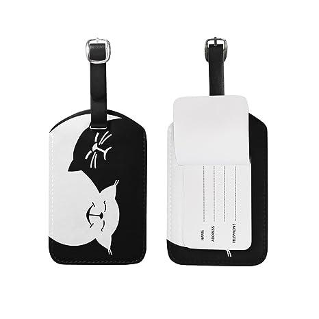 ALAZA Divertida de Yin Yang Gatos Etiqueta del Equipaje de ...