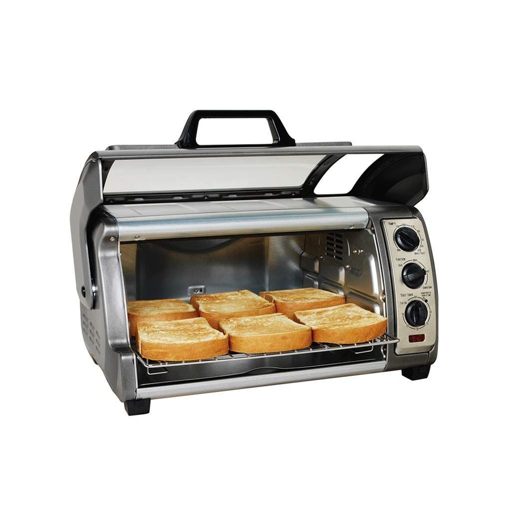 HIZLJJ Electric Countertop Multifunction Convection Oven Multi-function Electric Oven 1400W Smart Digital Stainless Steel Compact Kitchen Rotisserie Toaster w/Baking Pan,Grill Rack Tray,Glass Door