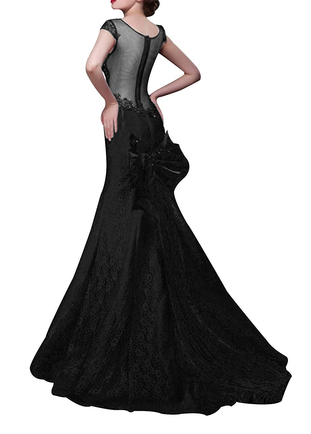 Dapene Womens Round Neck Tunic Bowknot Mermaid Formal Dress 6 US Black