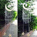 RAIN QUEEN Roll Over Image to Zoom in Fengshui Wind Chime Windbell White Woodstock Garden Door Wall Moon Star For Sale