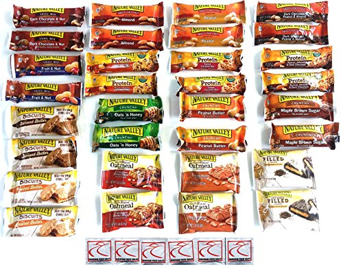 The Ultimate Nature Valley Granola Variety Snack Bar Bundle (32 Count 3 lbs) Crunchy, Soft Baked, Trail Mix, Sweet n Salty, Protein Bar, Biscuits, Gift Box, Care Package, 16 Flavors Nutritional Food Bar Yogurt Honey