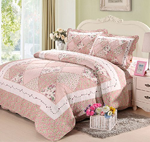 Pink Hue Queen Size Patchwork Quilt Bedding Set 3pc