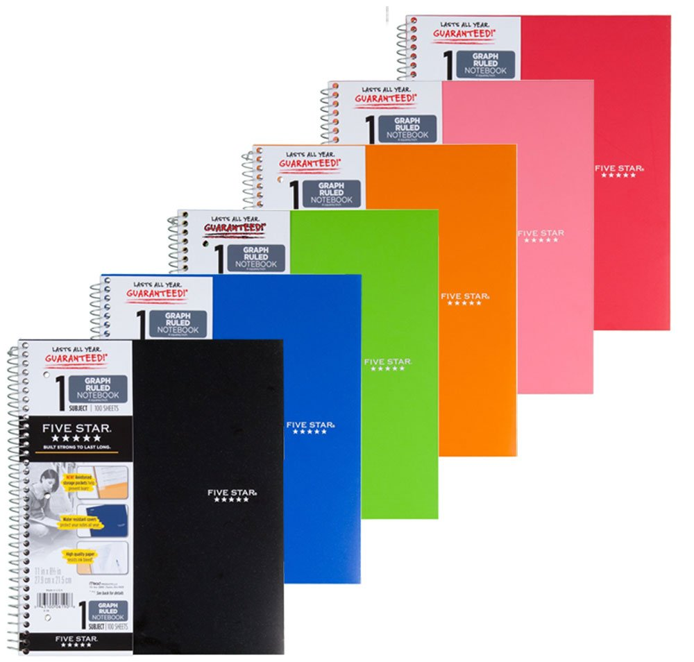 Five Star Spiral Notebook, Graph Ruled, 1 Subject, 8.5 x 11 Inches, 100 Sheets, Assorted Colors (06190), Pack Of 6 by Mead