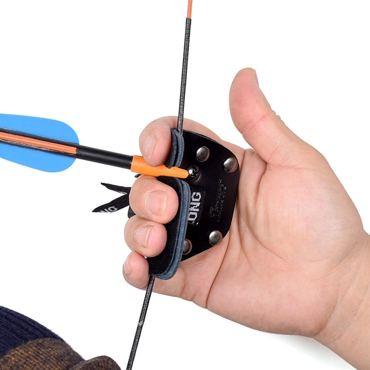 アーチェリー指タブ指プロテクター指セーバーCowレザーシューティングタブのRecurve Bow for Right Hand (ブラック)