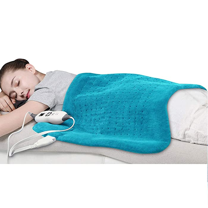 Tech Love XXL Electric Heating Pad for Neck Shoulder and Back Pain Relief with Fixation Strap Moist Heat Pad with Auto Shut Off Extra Large 20'' x 28'' - Maya Blue