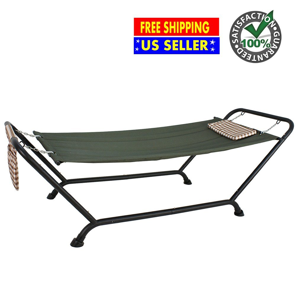 Deluxe Hammock with Detachable Polyester Pillow and Stand Support Dark Green   Heavy Duty Steel Construction Durable 507 Lbs Capacity   Ideal for Yard Patio Garden Pool Backyard Relax Friends Family