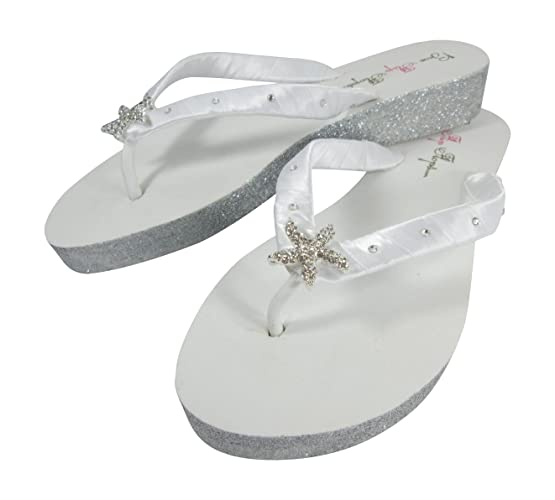 5c372c540 Amazon.com  White Starfish Swarovski Rhinestone Glitter Wedge Flip Flop  Bridal Wedding Heel