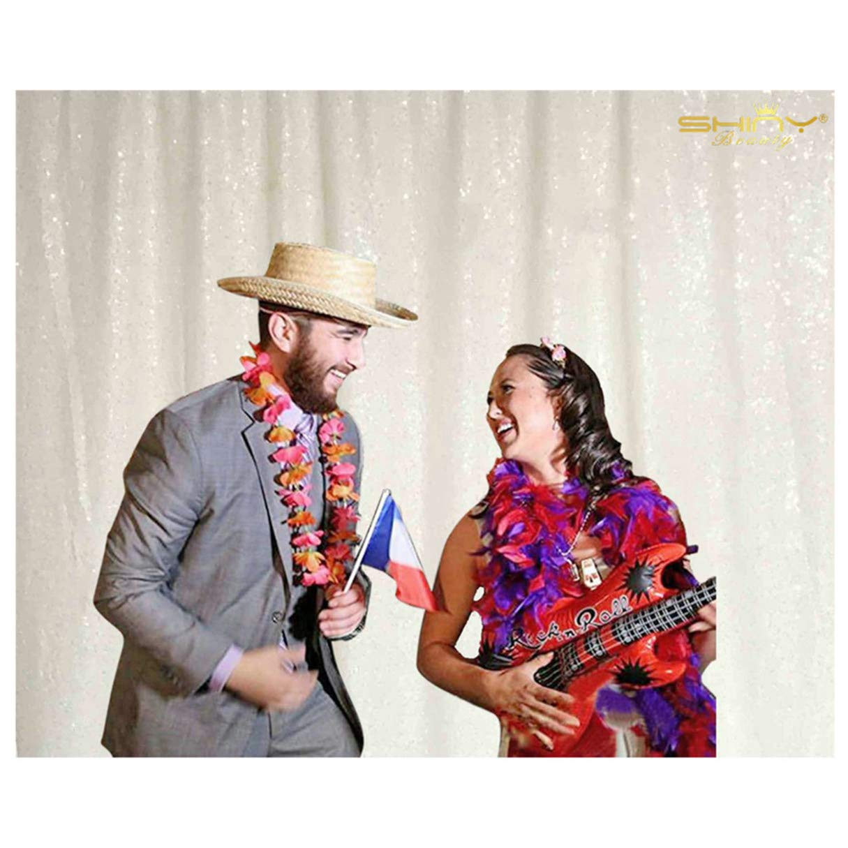 ShiDianYi 6フィートx6フィート スパンコール写真背景 フォトブース背景 シーケンス背景 結婚式用 7FTx7FT Sequin Backdrop Curtain White 7x7   B07KJK5L8V