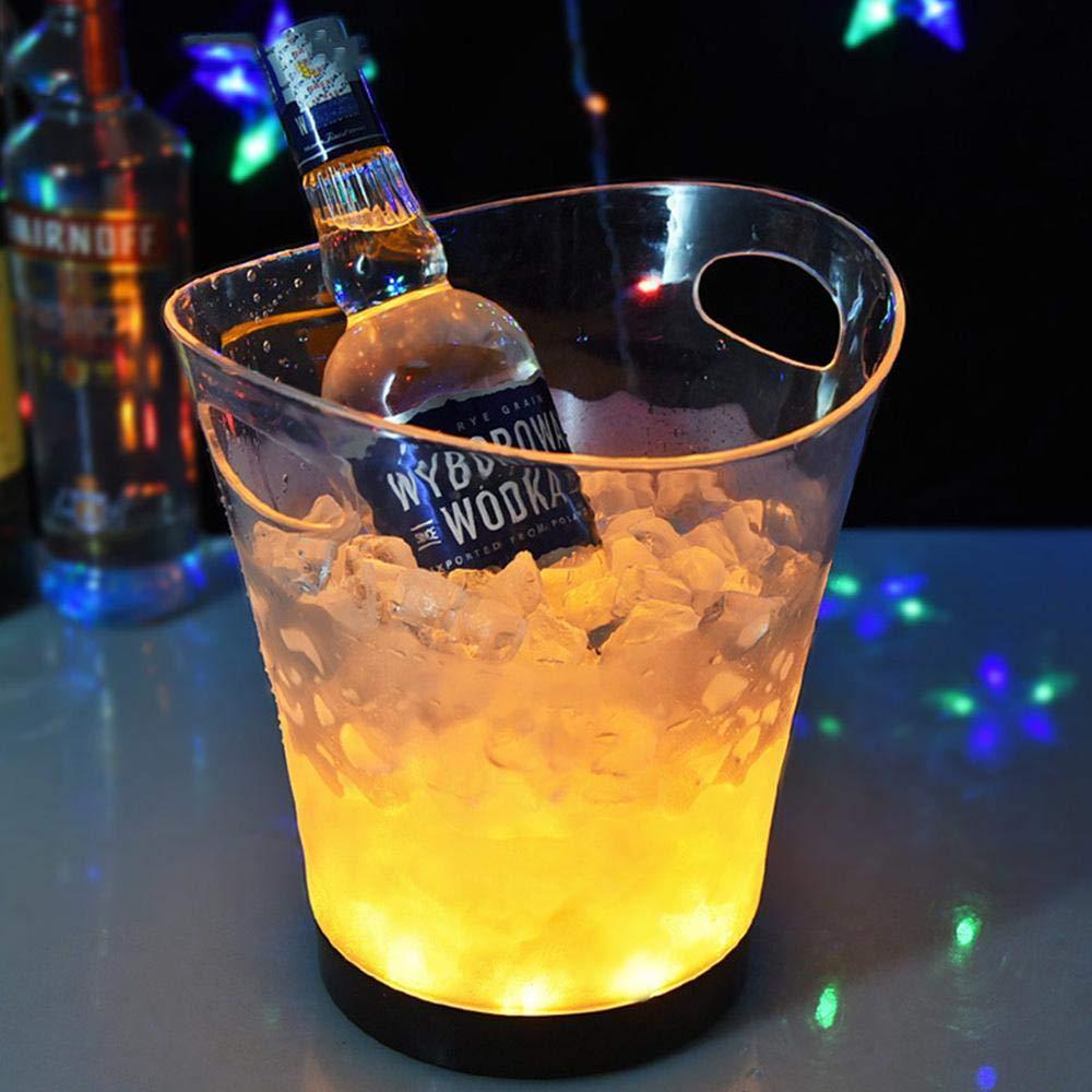 Goglor LED Ice Bucket, Wine Drinks Beer Bucket Retro Champagne Wine Drinks Beer Bucket for Party,Home,Bar,etc