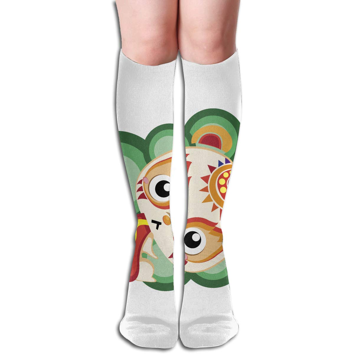 Women Socks Over Knee Illustration Of Cartoon Cat Arranging Presents Winter Vintage For Party