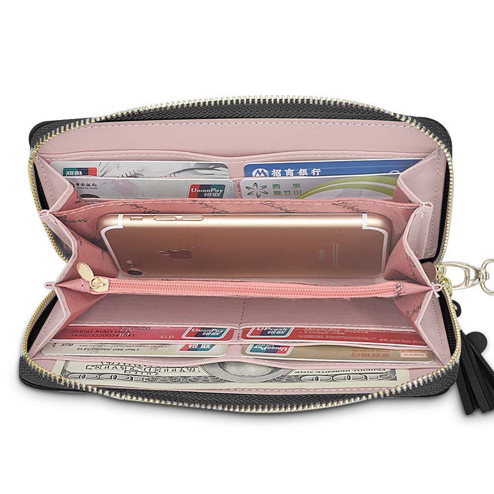 Black BestoU Purses for Women Leather Large Womens Wallets with Card Case Phone Pocket and Coin Purse