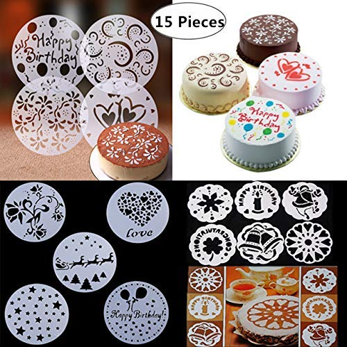 15-Pack Cake Decorating Stencil Molds, Magnoloran Wedding Cake Stencils Cake Templates Spray Floral Cake Molds, Wedding Cake Decorating Stencil Baking Tools, Dessert Decorating Molds