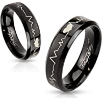 Heartbeat Laser Etched Stainless Steel Black IP Band Ring