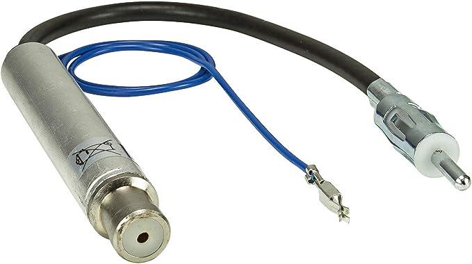 tomzz Audio 1503-001 - Adaptador de antena con alimentación fantasma compatible con Audi, Seat, Skoda, VW hasta 2005 a DIN