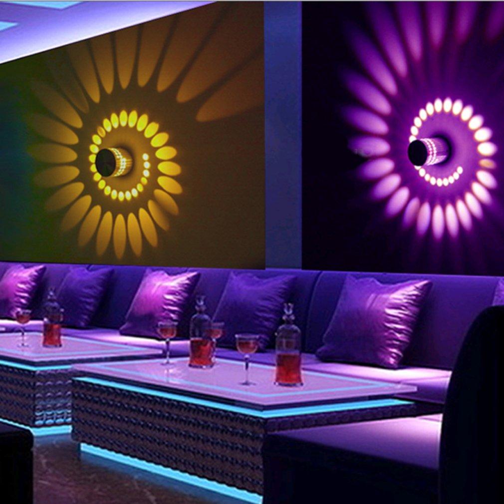 2 St/ück Lamker 3W LED Wandleuchte Wandlampe Dimmbar Innen RGB Wandlicht Deckenleuchte Effektlicht Spirale Effekt mit Fernbedienung f/ür Schlafzimmer Balkon Wohnzimmer Party Nachtklub Nightclub