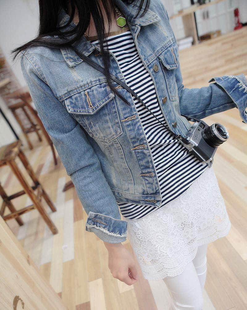 Mengmiao Donna Giacca di Jeans Pulsante Manica Lunga Risvolto Elegante Denim Cappotto