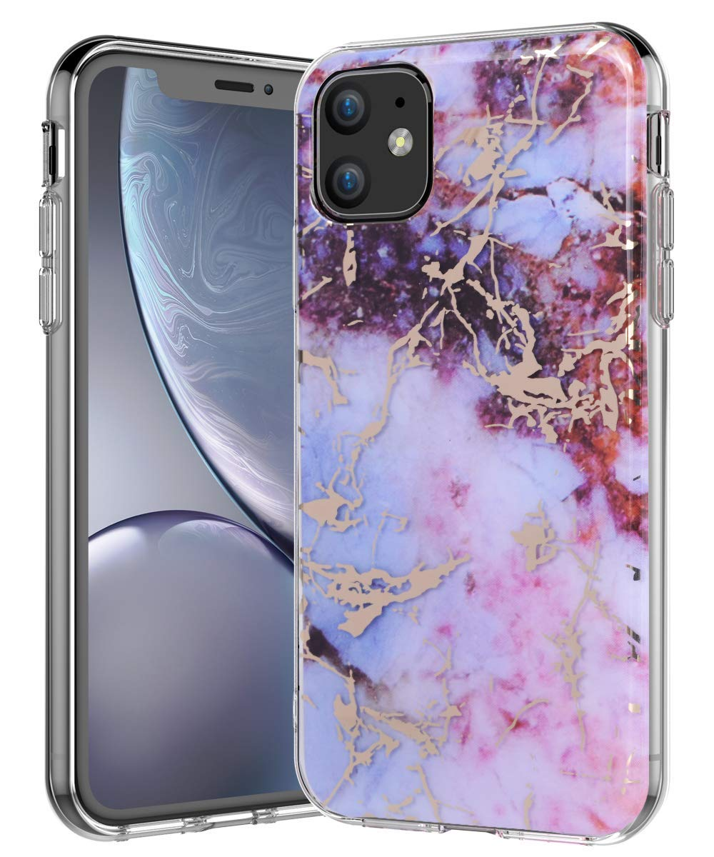 BSLVWG Compatible with iPhone 11 Case,Ultra-Thin Marble Stone Pattern Hybrid Hard Back Soft TPU Raised Edge Slim Protective Case ShockProof Cover for iPhone 11 6.1 inches 2019 Released Red lattice