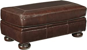 Ashley Furniture Signature Design - Banner Leather Ottoman - Traditional - Brown