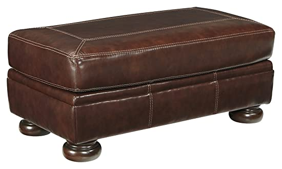 Signature Design by Ashley – Banner Traditional Leather Ottoman, Brown