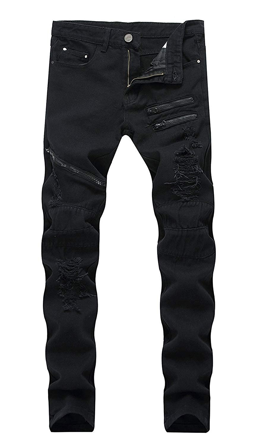 Mens Straight Leg Distressed Denim Jeans
