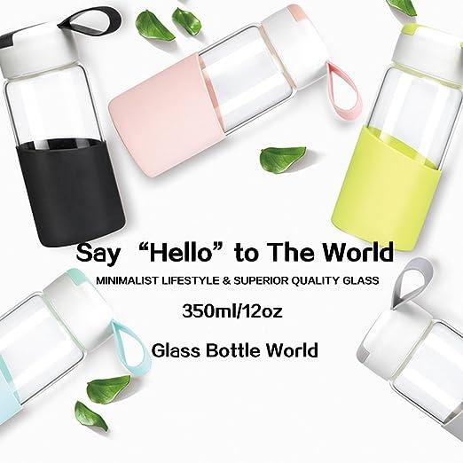 Amazon.com: ZDZDZ Botella de agua de vidrio para niños, 12 ...