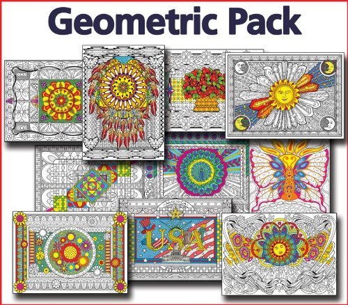 Geometric Line Art Bundle - 10 Posters (Line Art Posters To Color)