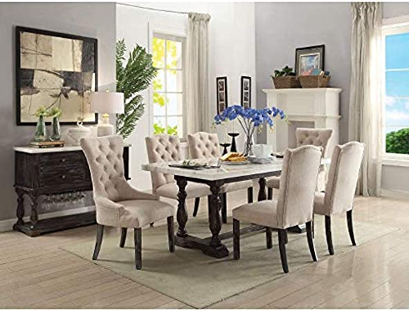 Benzara Wooden Dining Table With Marble Top White And Brown Amazon Ca Home Kitchen